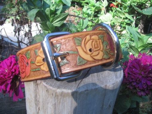 Custom Made Colorful Leather Dog Collar, Handcarved With Beautiful Flowers
