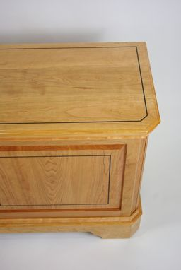 Custom Made Black Cherry Blanket Chest With Ebony Inlay
