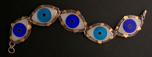 Custom Made Evil Eye Enamel Link Bracelet