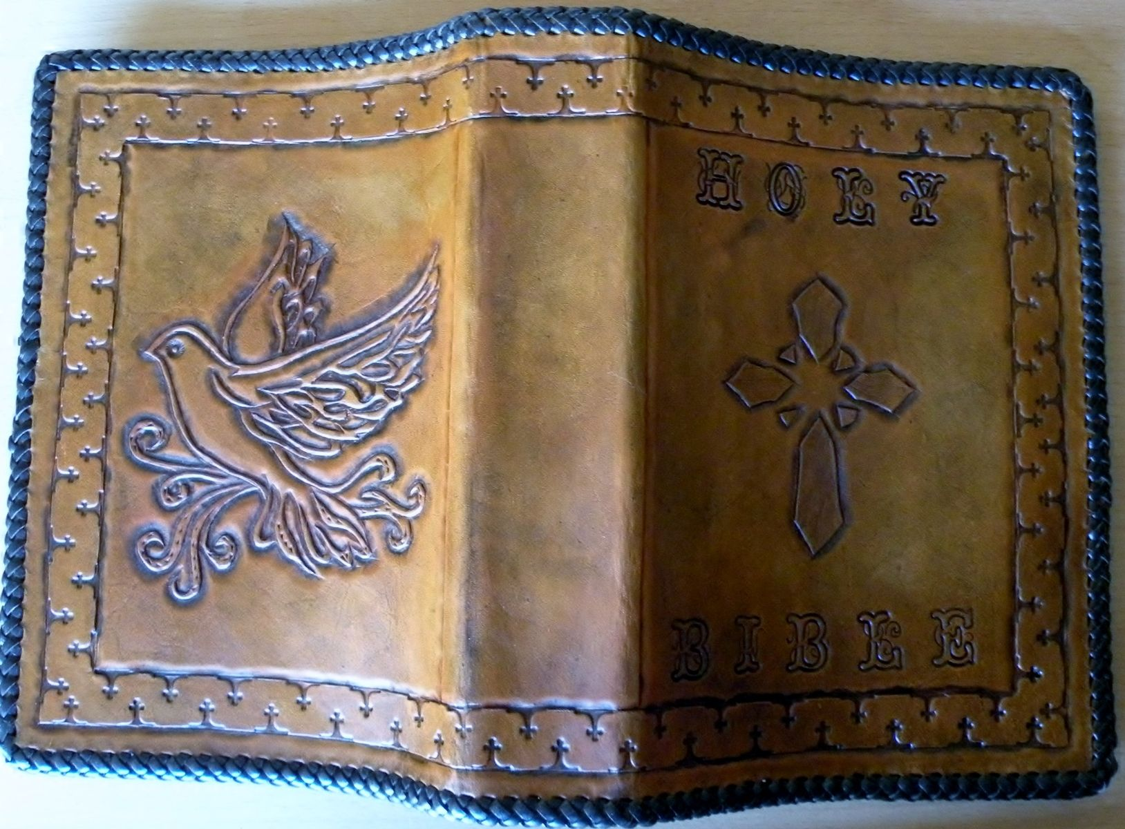 Handmade Leather Book Cover ~ Custom dove bible cover by rics leather custommade