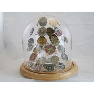 Custom Made Glass Dome Coin Display, Large Challenged Coin Display