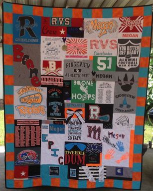 Custom Made Custom Cheerleading Uniform Tshirt Memory Quilt With Bow And Award Medals Embellishments