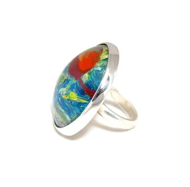 Custom Made Fashion Ring - Green And Blue Red Dot Resin Painted Ring -  Large Sterling Ring