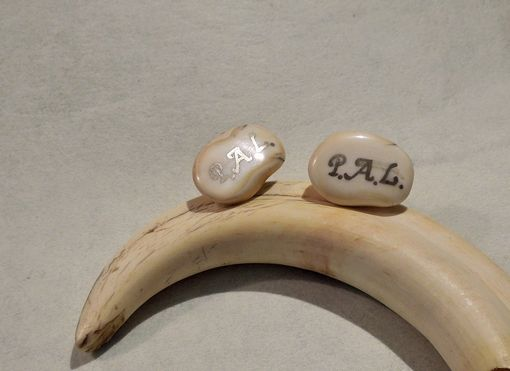 Custom Made Warthog Tusk Cufflinks Monogram Cufflinks
