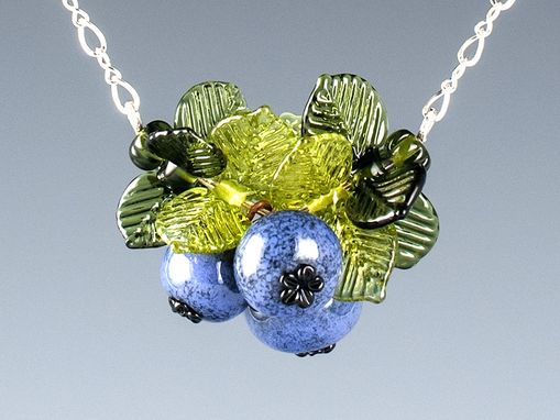 Custom Made Blueberry Cluster Pendant On Adjustable Sterling Silver Or Gold Filled Chain