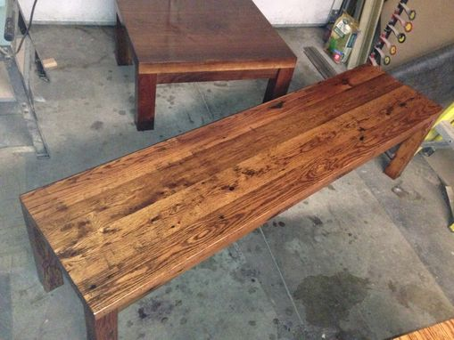 Custom Made Reclaimed Oak Table And Bench