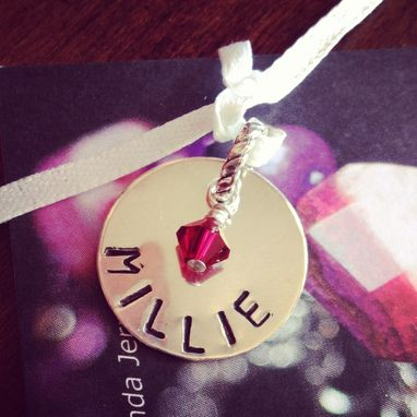Custom Made Hand Stamped Personalized Name Birthstone Charm Pendant
