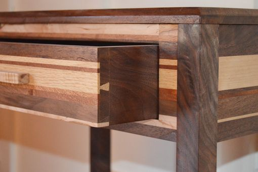 Custom Made Figured Walnut, Maple And Combination Solid Wood Federal Side Table