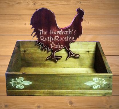 Custom Made Handmade Rooster Patio Planter/Family Sign