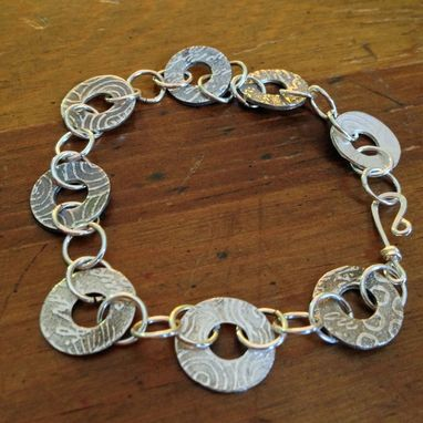 Custom Made Sterling Silver Circle Textured Bracelet