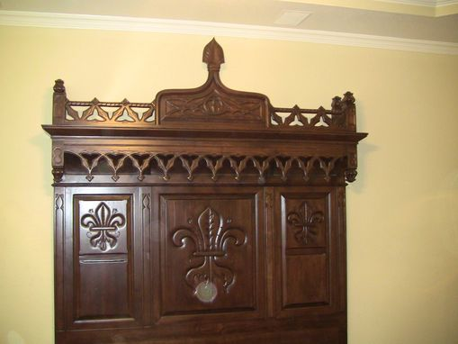 Custom Made Custom Built King Bed In Walnut With Siderails.  All Hand Done Carving.