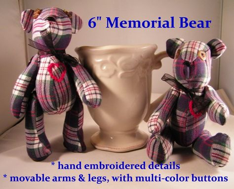 "Custom Made Small Memorial Memory Bears From ""His Favorite Flannel Shirt"""