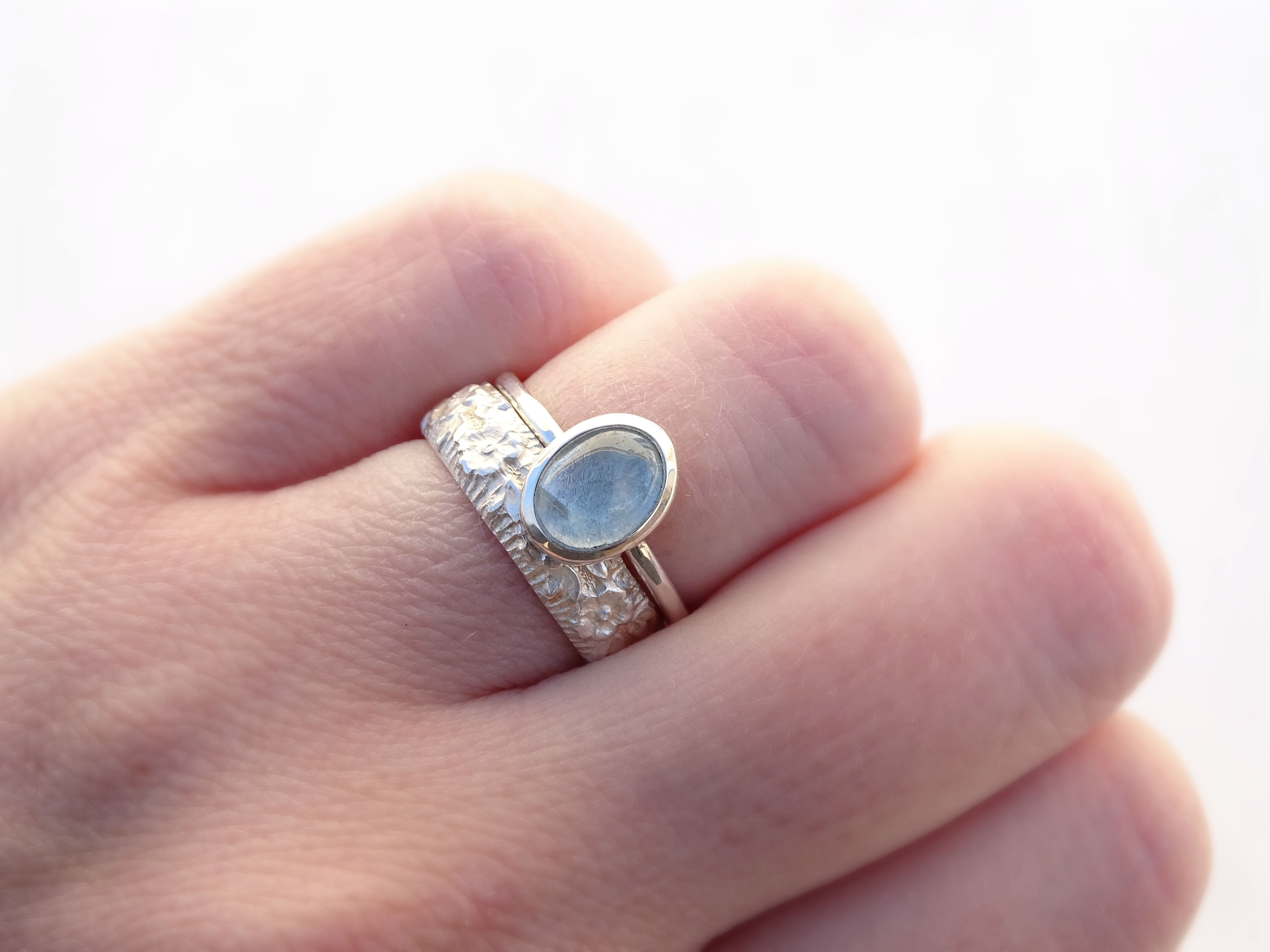 Buy a Hand Crafted Unique Aquamarine Engagement Ring Set, Floral ...