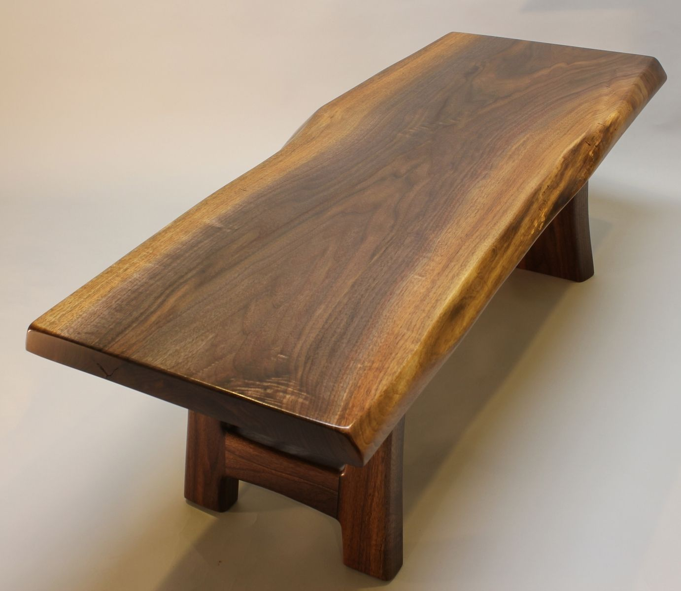Custom Made Black Walnut Live Edge Coffee Table - Handmade Black Walnut Live Edge Coffee Table By J.R Signature