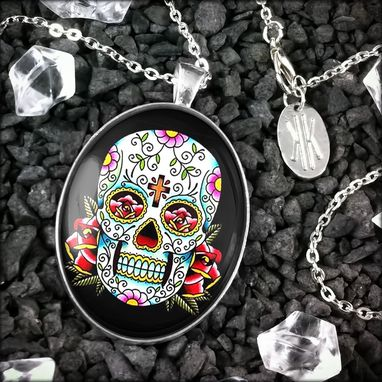 Custom Made Large Day Of The Dead Skull Sterling Silver Pendant Necklace 55-Slopn