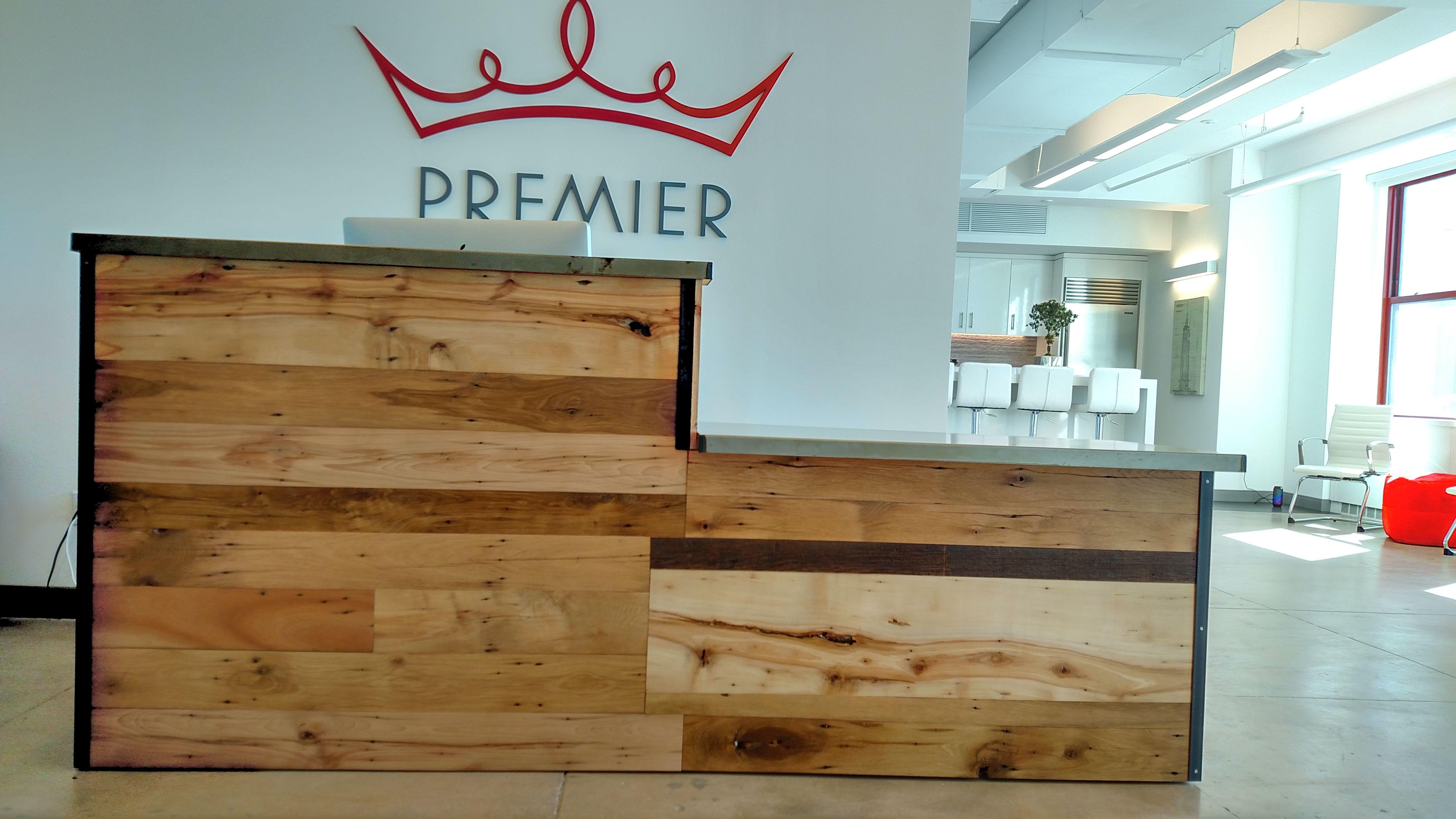 Handmade Reclaimed Wood/Steel Reception Desk by re.dwell ...