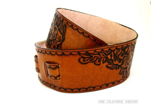 Custom Made Hibiscus Flower Custom Leather Guitar Strap