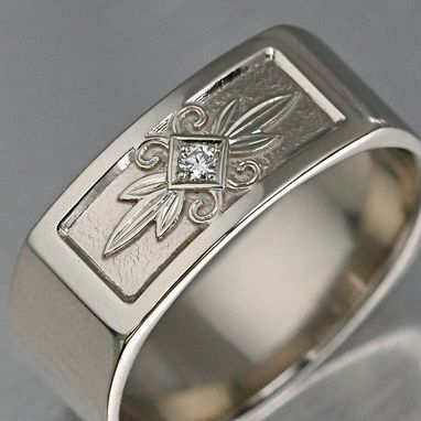 Custom Made Carved Diamond Gent's Ring