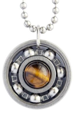 Custom Made Yellow Tiger's Eye Roller Derby Skate Bearing Pendant