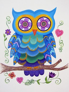 Owl Wall Art For S Kids Nursery Painting Not A Print Whimsical