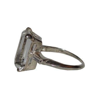 Custom Made Small Sterling Silver Emerald Cut Rock Crystal Quartz And Cubic Zirconia Baguette Cocktail Ring