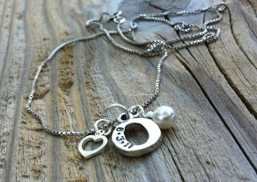 Custom Made Sterling Silver Hand Stamped Chunky Initial Charm Necklace