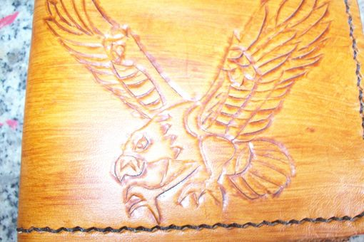 Custom Made Custom Leather Deluxe Wallet With Preying Eagle Design