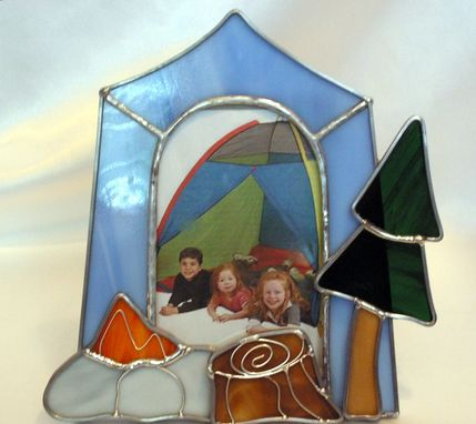 Custom Made Stained Glass Camping Picture Frame
