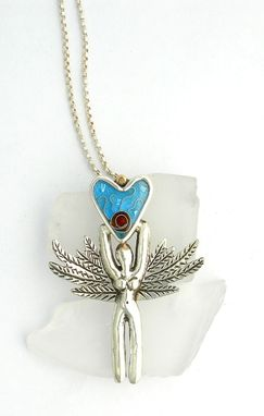 Custom Made Enamel Necklace, Angel Pendant
