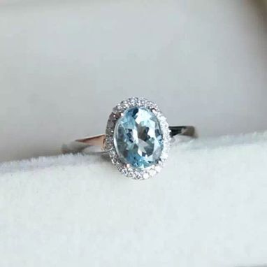 Custom Made 1.39 Carat Aquamarine Ring In 14k White Gold