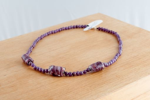 Custom Made Pink Ruby And Glass Bead Necklace