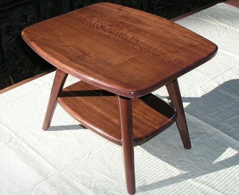 Custom Made Mid Century Modern Coffee Table/End Table, Solid Walnut With Black Truffle Finish,