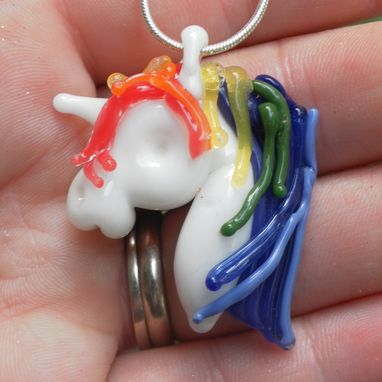 Custom Made Rainbow Unicorn Necklace Glass, Lampwork Equine Pendant, Horse Hand Blown Pendant Sra