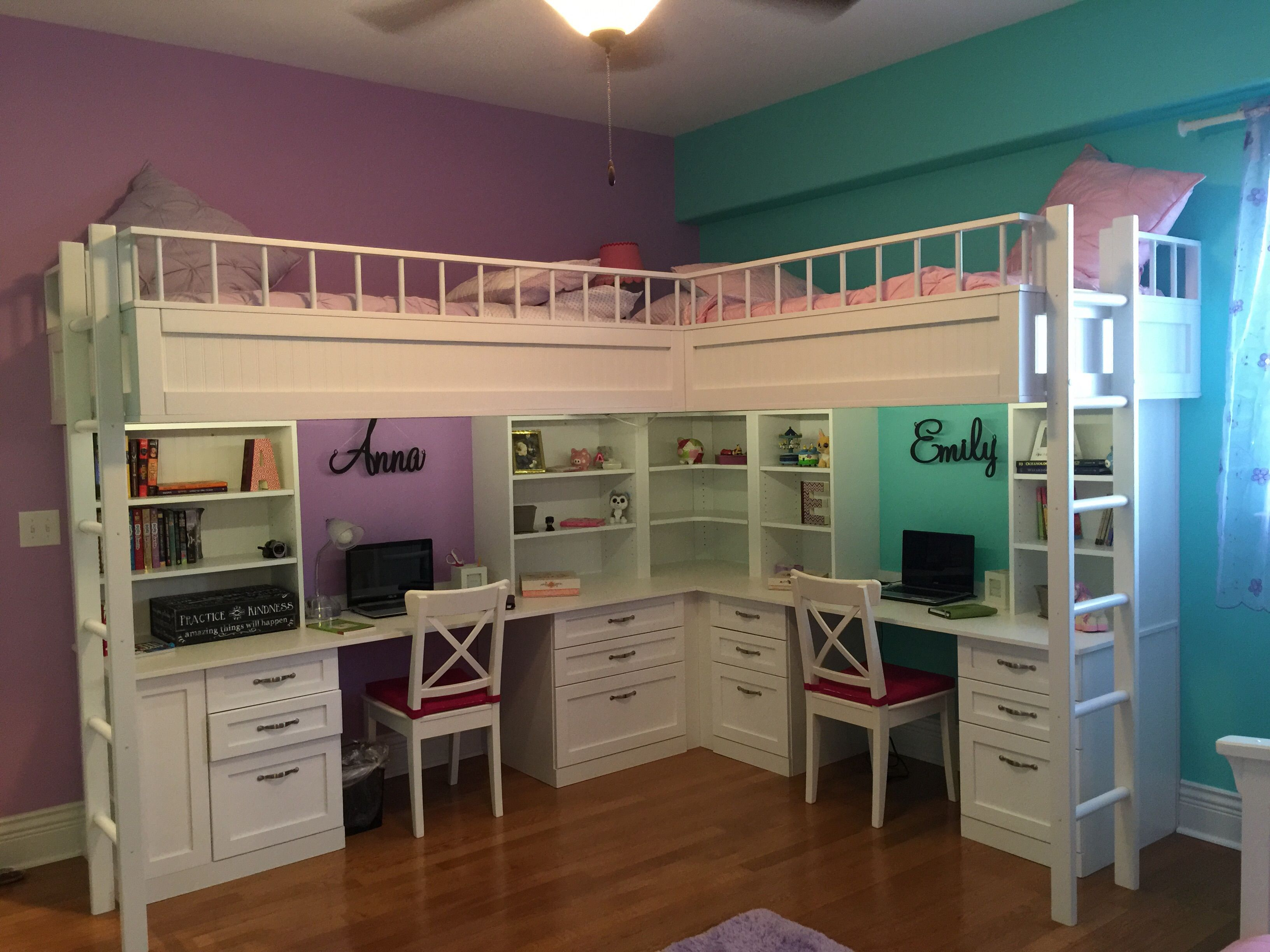 Loft Bed For Girls With Desk: Custom Made Dual Loft Beds With Desks By Carolina Wood