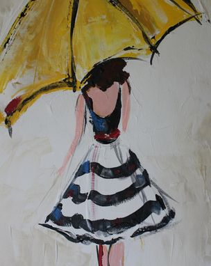 Custom Made Umbrella Girl, Red Belt, Acrylic Painting