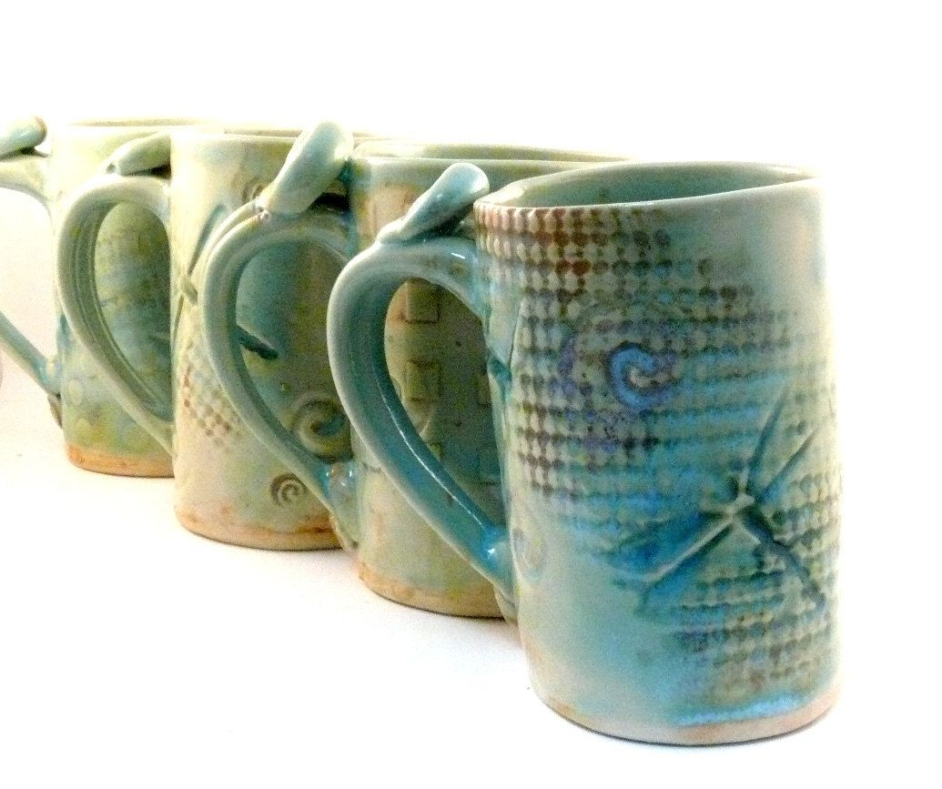 Custom Made Ceramic Mug Dragonfly Coffee Cup Large Pottery