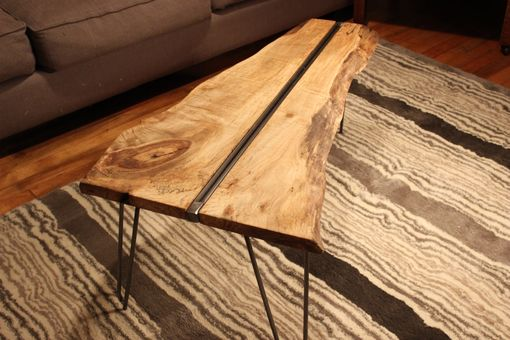 Custom Made Live Edge Maple Coffee Table With Hairpin Legs