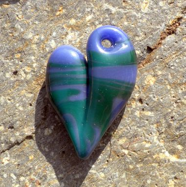 Custom Made Glass Heart Pendant Necklace Lampwork Boro Heart Purple And Teal