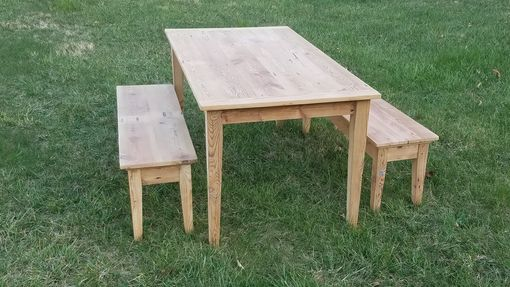 Custom Made Reclaimed Pine Farmhouse Table With Benches