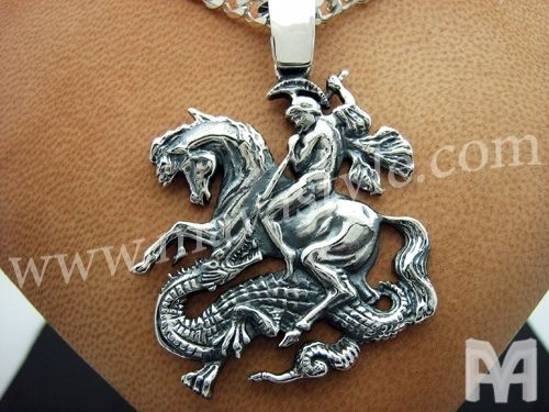 Custom Made Sterling Silver Saint George Pendant