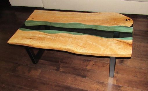 Custom Made Live Edge Coffee Table,Glass Inlay