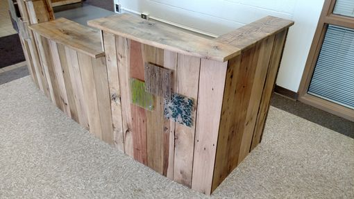 Custom Made Reclaimed Wood And Steel Reception Desk