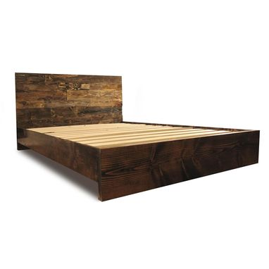 Custom Made Solid Wood Simple Platform Bed Frame - Rustic And Modern Bed Frame - Wood Bedroom Furniture
