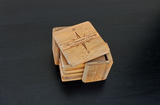 Custom Made Custom Bamboo Coasters, Custom Engraved Coasters --Cst-Bam-Seaward Family