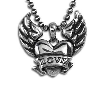 Custom Made Heart With Wings Pendant Custom Name In Sterling Silver