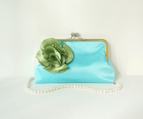 Custom Made Blue Minimalist Clutch Purse With Flower Accent