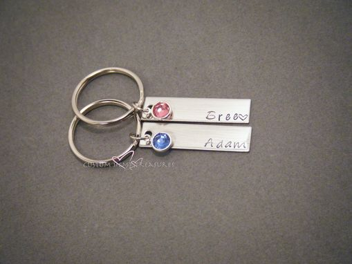 Custom Made Birhtstone Keychains With Names For Couples