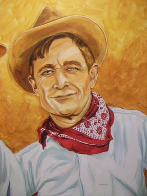 Custom Made Acrylic On Board Portrait For A Mural: Cowboys 3
