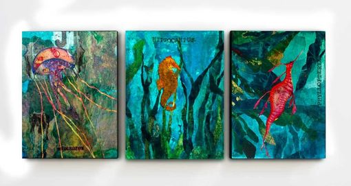 Custom Made Customize Your Own 3-Piece Sea Creature Series. 3 Ready To Hang 16x20 Canvas Giclees Of Your Choice