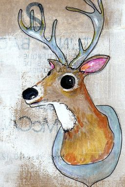 Custom Made Oh Deer - 4x6 Affordable Print On Photo Paper- Original Drawing Of A Taxidermy Buck With A Big Rack